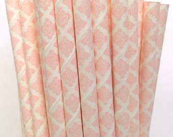2.85 US Shipping -Vintage Pink Paper Straws- Pink Damask straws - Cake pop sticks