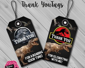 Jurassic Park/Jurassic World Luggage Style Thank You Tags. 4 Styles for Instant Download! Digital File/Printable.