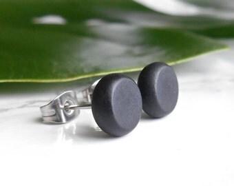 Black Stud Earrings For Men - Monochrome Ear Studs - Sterling Silver Earrings - Mens Ear Studs - Minimalist Jewelry - Contemporary Jewelry M