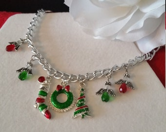 DISCOUNT Christmas Charm Bracelet, Silver Chain, Angels, Wreaths, Christmas Tree, Holiday Bracelets, Christmas Bracelets, Charm Bracelets
