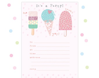 Pack of 8 Ice Cream Party Invitations