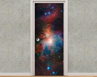 Door Decal - Self-Adhesive Vinyl Sticker - Door to the Universe - Deep Space Nebula Door Wrap