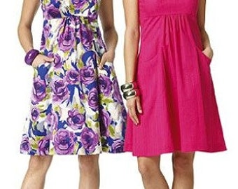 Womans Flared Dress Sewing Pattern UNCUT Butterick B5734 Miss Size 6-20 Sun Dress Fab
