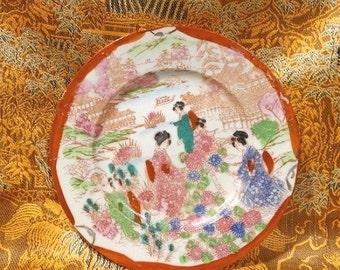 """Vintage 1940s Geisha Girl 6"""" Porcelain Plate MIJ Japan"""