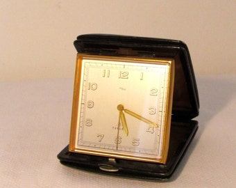 Antique Travelling Alarm Clock ImHof with leather case Vintage