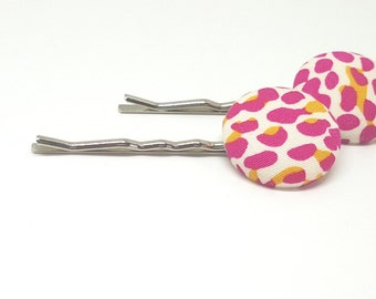 Fabric button bobby pins pair in pink and mustard
