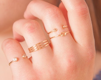 Gold stacking rings - cz stacking rings - thin stacking rings - unique gold rings - stacking rings - stacking knot ring - triple stack ring