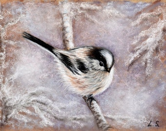 Original pastel drawing Winter Bird