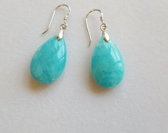 Handcraftedblue  amazonite, silver dangle earrings