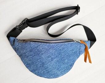 Blue denim Waist bag money belt hip bag belt bag fanny pack, blue jeans bum bag, festival bag, gift for her