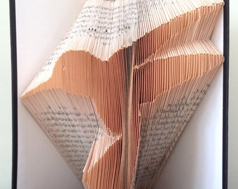 HUMMINGBIRD - Book Folding Pattern. DIY gift for folded book art. Template with step by step instructions. Very easy, no measuring required