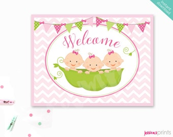 Instant Download Sweet Pea Baby Girl Triplets Printable Baby Shower Welcome Sign, Welcome Party Sign, Baby Shower Printable, Triplets Baby