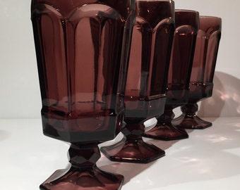 Set of 8 Purple or Amethyst Glass Stemmed Tumblers, Purple Retro Glassware, Vintage Purple Stemmed Goblets Water Goblets, Purple Wedding