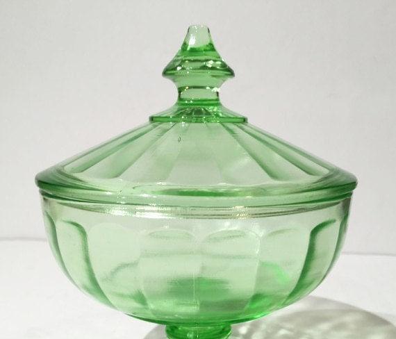 green depression glass pedestal candy jar with lid green. Black Bedroom Furniture Sets. Home Design Ideas