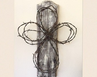 Barbed Wire Rustic Cross