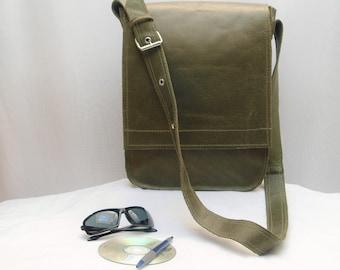 Leather Satchel Briefcase/ Lap Top Carry On/ Cross Body Messanger Bag/ Shoulder Strap Handbag/ Manbag- Unisex- Upcycled Leather, Kahki Green