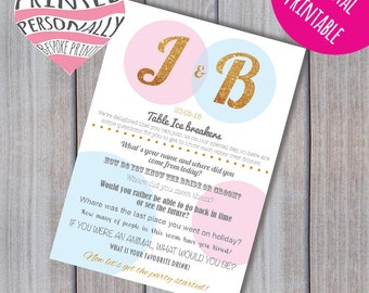 Personalised wedding reception game - Ice breaker questions - Printable wedding game - Wedding printable - Wedding favour - Wedding guest