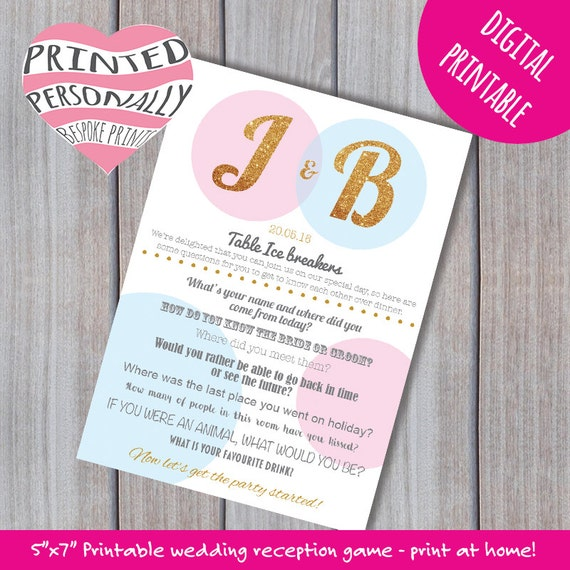 Personalised Wedding Reception Game Ice Breaker Questions