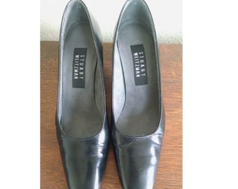 Vintage Chunky Pumps, Stuart WEITZMAN Black Leather Pumps, 1990s Chunky Heels, Size 7 W wide