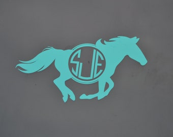 Horse Lover Gift - Monogram Yeti Decal - Personalized Horse Decal - Equestrian Gift - Horse Car Decal - Monogram Car Decal - Car Decals