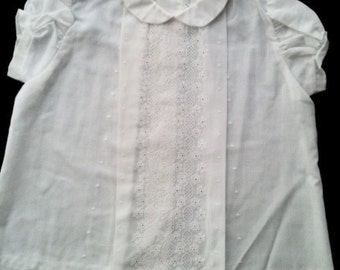 White cotton gown for baby 9 mo., circa 1970, machine embroidered, barely used in excellent condition