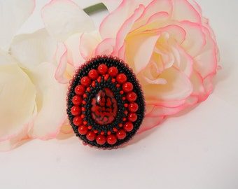 Red Brooch, Red Embroidery Brooch, Red Embroidered Brooch, Cabochon Brooch, Czech Glass Brooch, Coral Brooch, Beaded Brooch, Bead Embroidery