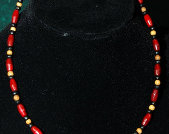 Red, black and tan beaded wood necklace