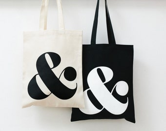Ampersand - Black Tote Bag - Quality Tote Bag - Monogram Tote - Canvas Shopper - Ampersand Black Tote Bag - Alphabet Bags