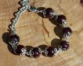 Red Garnet Stone Bracelet ~ Statement Bracelet ~ Bohemian Bracelet ~ Boho Bracelet ~ Semi Precious Stone Bracelet ~ Red Garnet  Bracelet