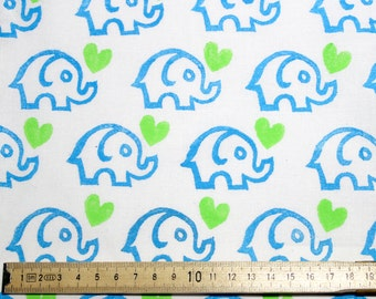 Blue and Lime Hand Block-printed Cotton Fabric - Elephant Love