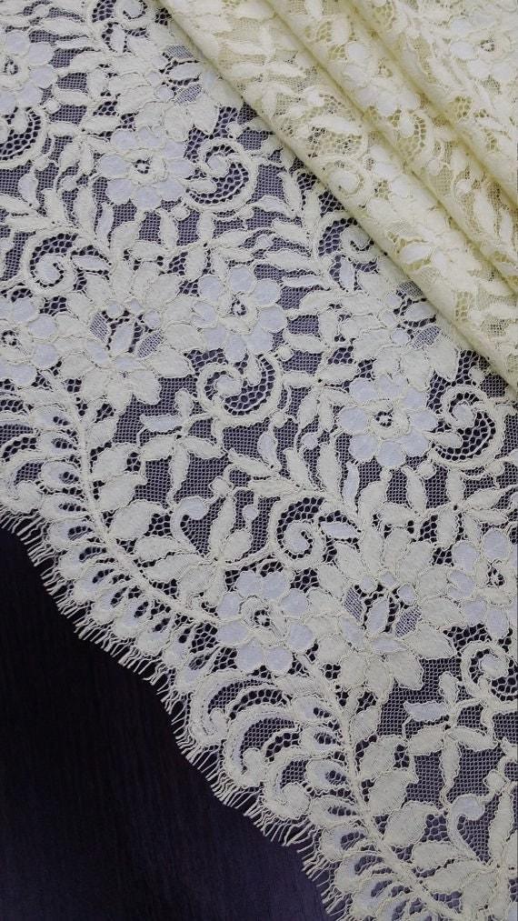Yellow lace fabric french lace chantilly lace bridal lace for French lace fabric for wedding dresses