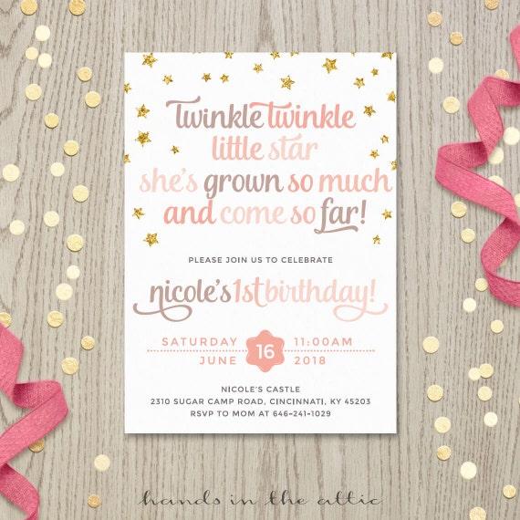 Twinkle twinkle little star starry birthday poem invitation card