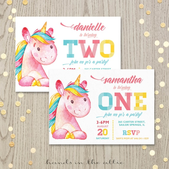 Printable Unicorn Birthday Party Invitation First Birthday