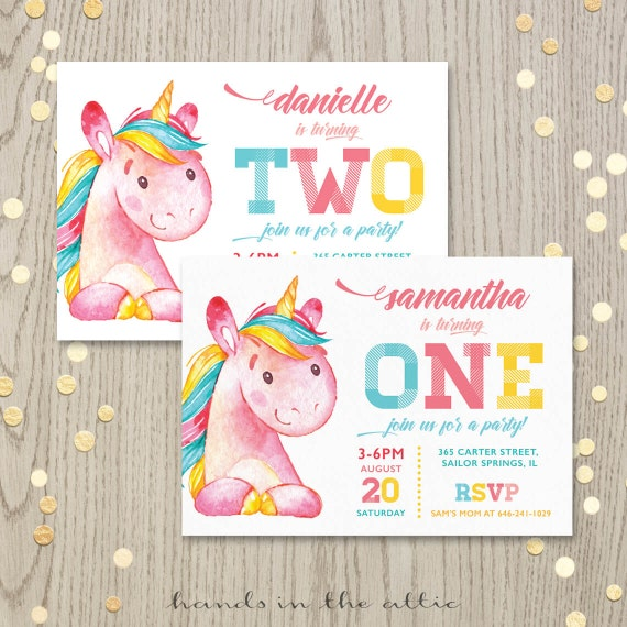 Printable unicorn birthday party invitation first birthday il570xn filmwisefo