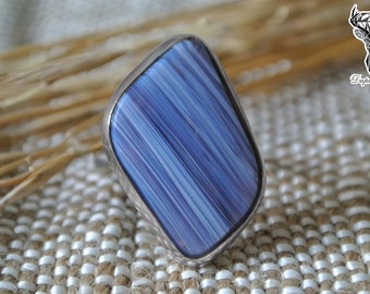 Blue agate ring boho style, agate ring, blue stone ring
