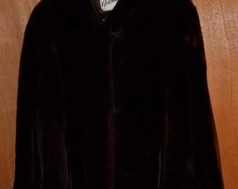 Vintage 1940's Brown Mouton Coat, Beautiful!