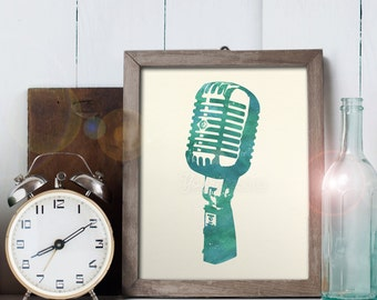 Vintage Microphone Art - 8x10 printable digital file - INSTANT DOWNLOAD!