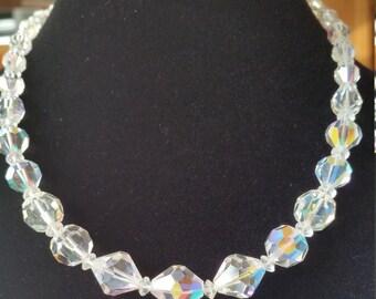 Aurora Borealis graduated bead choker Vintage 1950s