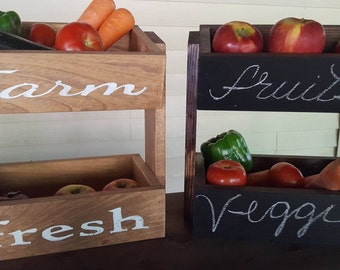 Farmhouse Decor, Rustic Decor, Farm Stand, Farm Fresh, Farm to Table,  Fresh Fruit,  Produce Stand , Kitchen Storage, Fresh Vegetables,