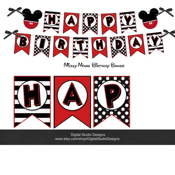 Mickey Mouse Happy Birthday Banner Minnie By