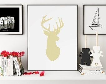 Deer Nursery Art, Deer Watercolor, Deer Print, Deer Wall Art, Deer Silhouette, Deer Decor, Deer Wall Decor, Deer Art, Wall Art, Wall Prints