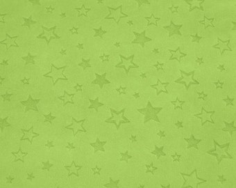 Green Star Plush Fabric, Shannon, Star Embossed Cuddle Plush, Dark Lime Green, UK Sales Only