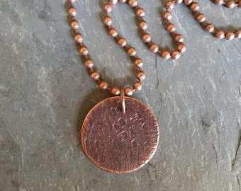 Bark: Copper disc wabi-sabi pendant with tree bark texture and patina on antiqued copper chain