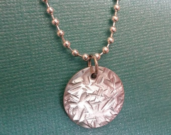 Ice Crystals: Aluminum pendant with frost texture double-sided necklace on silver-plated chain