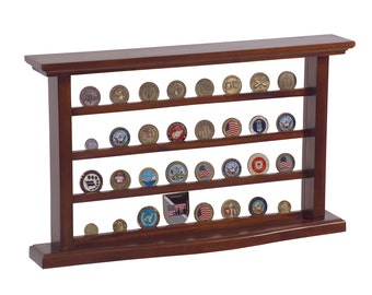 Military Challenge Coin Display Case - Solid Mahogany Wood