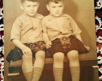 Vintage sepia photo from the early last century- Scottish Twin Boys-Studio Photo-Paper craft supply