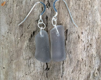 Sterling Silver Genuine Surf Tumbled Grey Taupe Sea Beach Glass Drop Dangle Earrings