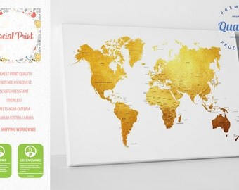 Gold World Map Canvas Print with countries / FREE SHIPPING / wall art, world map, custom world map, golden world map, canvas art, map print