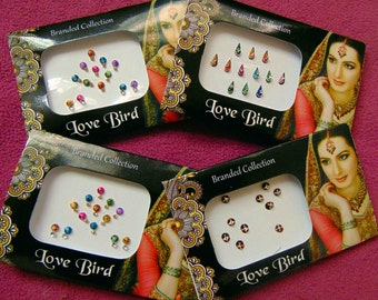 48 bindis - 4 bindi packs designer bollywood bindis / belly dance bindis / bindi stckers, body art tattoos