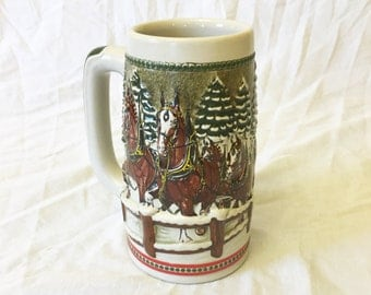 Vintage Anheuser-Busch Budweiser Christmas Beer Stein, Budweiser Clydesdale Horses